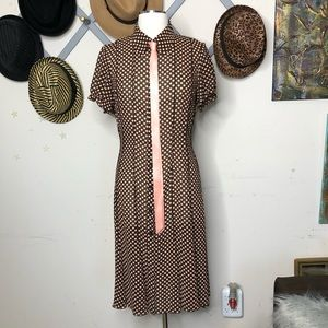 Sandra Darren peach and brown polkadot dress